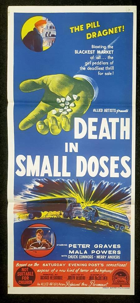 DEATH IN SMALL DOSES Daybill Movie Poster Peter Graves Chuck Connors