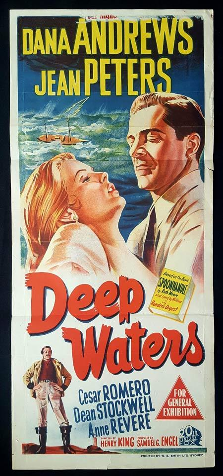 DEEP WATERS Original Daybill Movie Poster Dana Andrews Jean Peters Dean Stockwell
