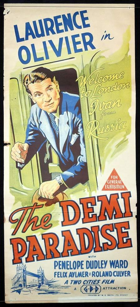 THE DEMI PARADISE Original Daybill Movie Poster Laurence Olivier Margaret Rutherford 1943