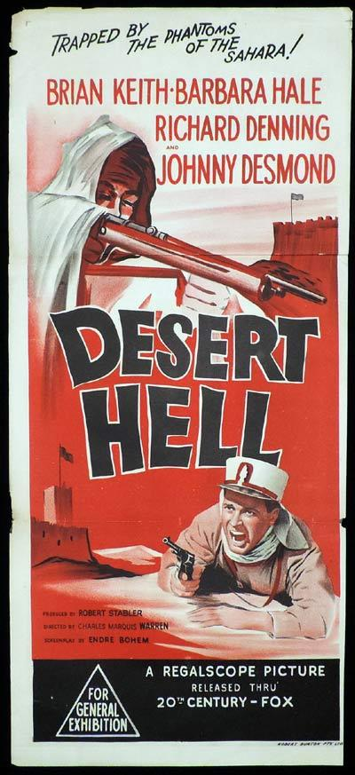 DESERT HELL Original Daybill Movie Brian Keith Barbara Hale