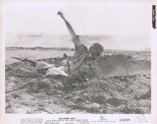 THE DESERT RATS 1953 Movie Still Photo 24 Michael Pate grenade