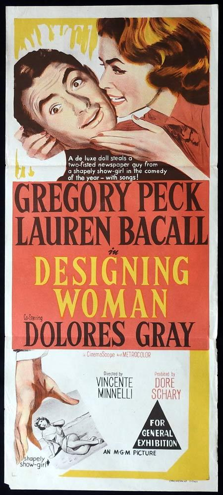 DESIGNING WOMAN Original Daybill Movie Poster Lauren Bacall Gregory Peck