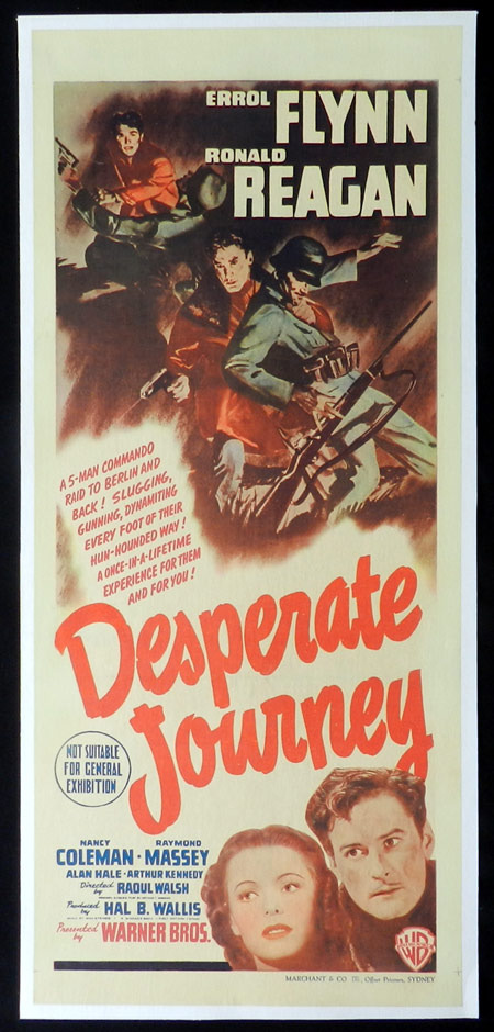 Desperate Journey, Movie Poster, Australian Daybill, Linen Backed, Raoul Walsh, Errol Flynn, Ronald Reagan, Nancy Coleman, Raymond Massey