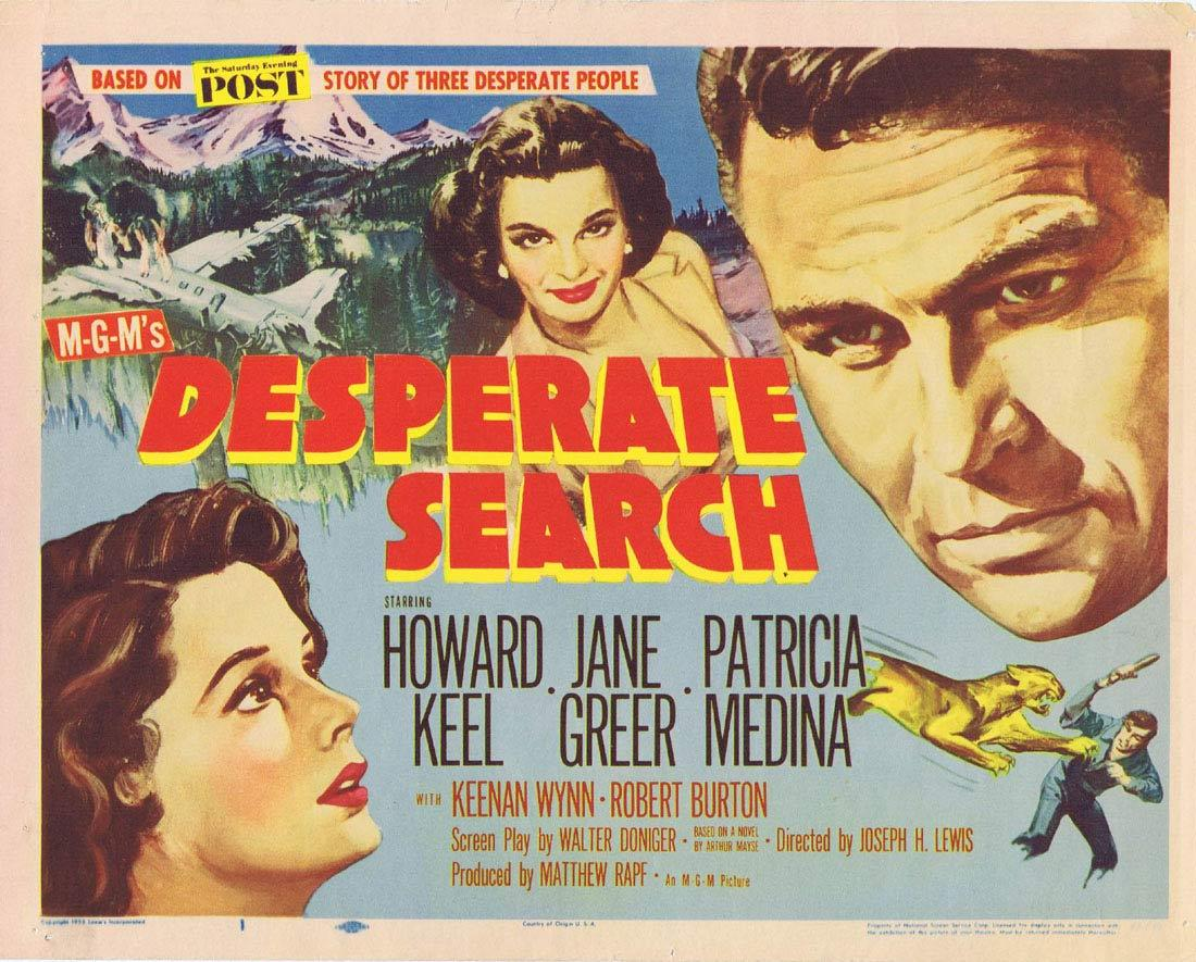 DESPERATE SEARCH Keel Jane Greer Title lobby Card