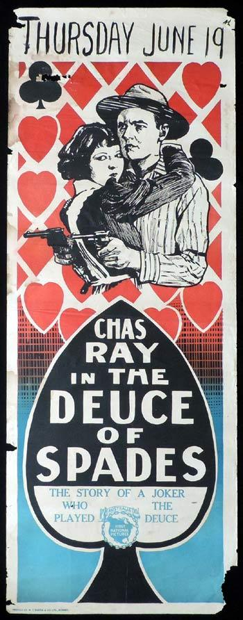 THE DEUCE OF SPADES Long Daybill Movie poster 1922 Chas Ray Gambling