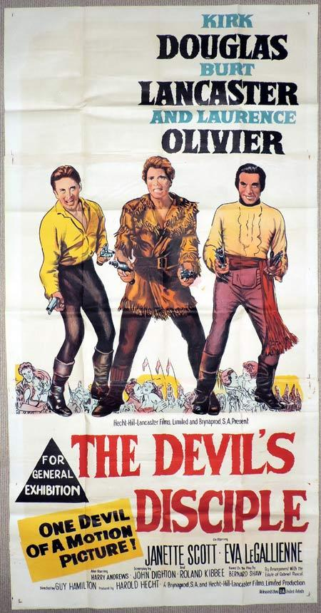 THE DEVIL'S DISCIPLE Original 3 Sheet Movie Poster Burt Lancaster, Kirk Douglas and Laurence Olivier.