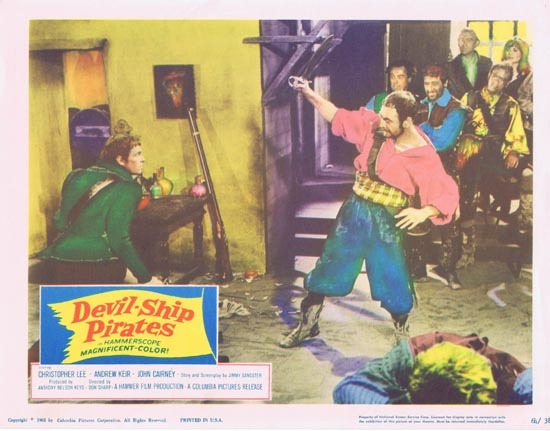 DEVIL SHIP PIRATES 1964 Christopher Lee HAMMER Lobby Card