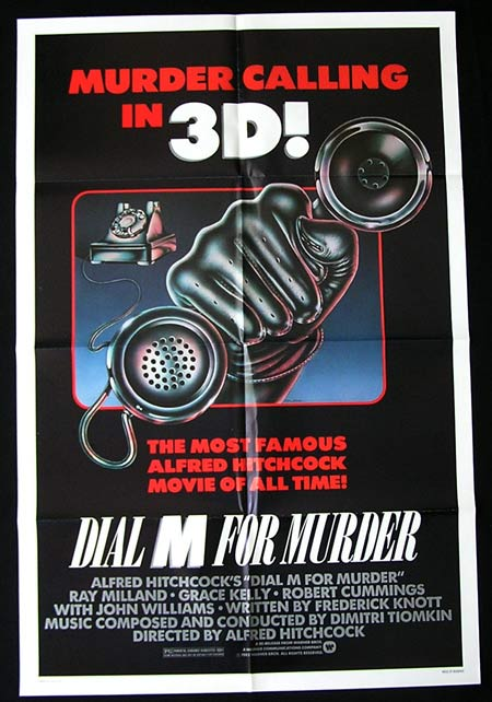 DIAL M FOR MURDER Movie Poster 1982r Alfred Hitchcock US one sheet
