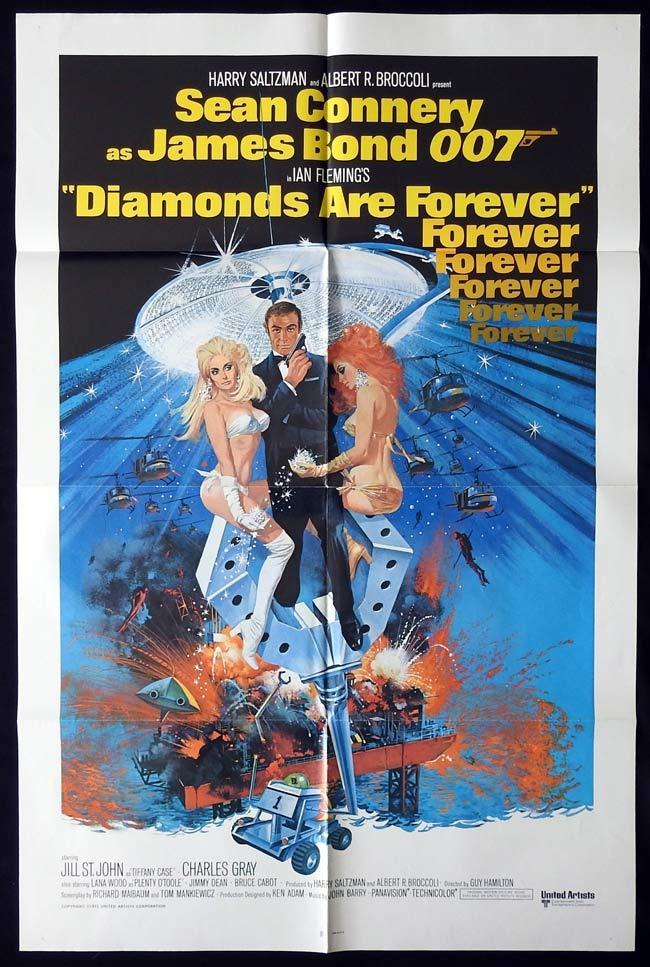 DIAMONDS ARE FOREVER Original One sheet Movie poster JAMES BOND Sean Connery 1980r
