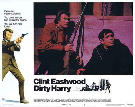 DIRTY HARRY, Lobby Card, Clint Eastwood, Original, Australian Daybill, Movie Poster, Vintage, Harry Guardino, Reni Stanton, Andy Robinson, John Larch and John Vernon