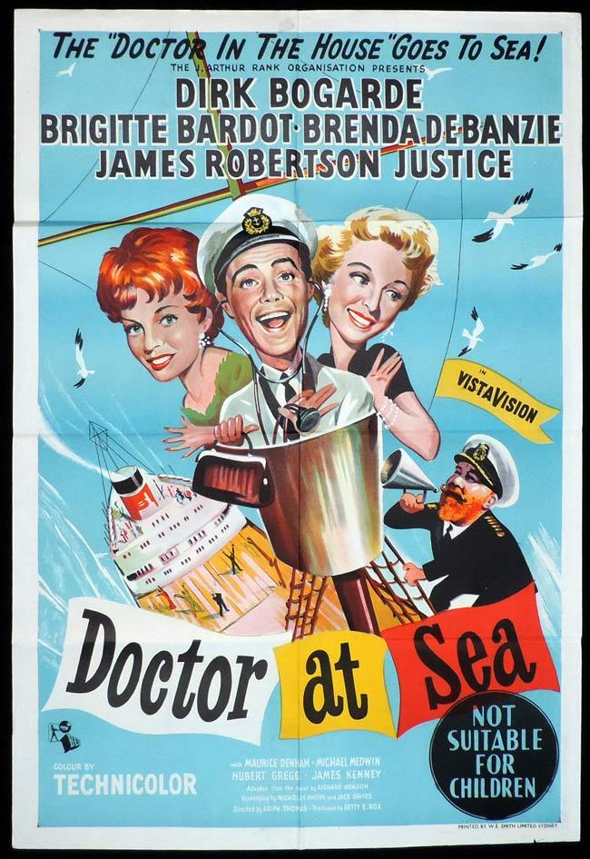 Doctor at Sea, Ralph Thomas, Dirk Bogarde Brigitte Bardot James Robertson Justice Brenda De Banzie Joan Sims