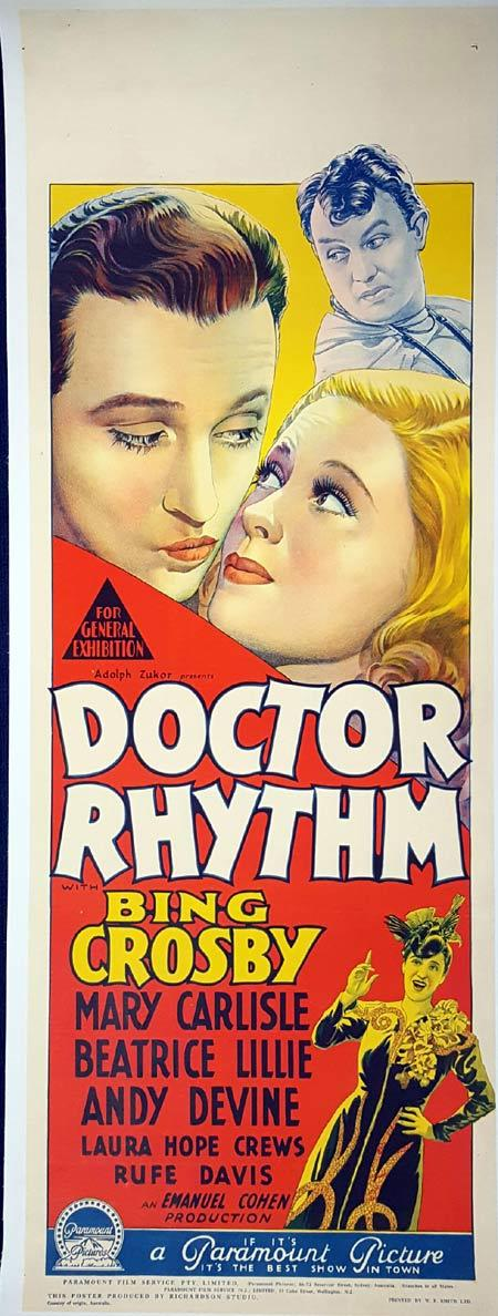 DOCTOR RHYTHM Long Daybill Movie poster 1938 Bing Crosby Frank Tuttle