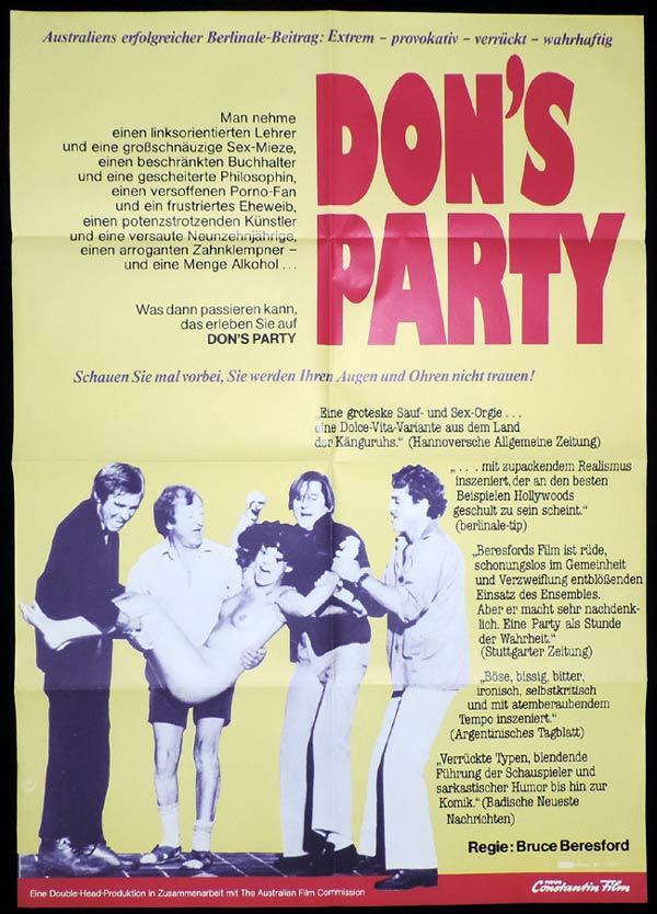 Don's Party, Bruce Beresford, John Hargreaves, Harold Hopkins, Candy Raymond, Graeme Blundell, Veronica Lang, Ray Barrett, Graham Kennedy, Jeanie Drynan, Clare Binney, Pat Bishop, Kit Taylor