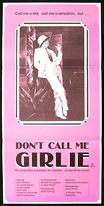 DON'T CALL ME GIRLIE '85 Australian Cinema Rare daybill poster