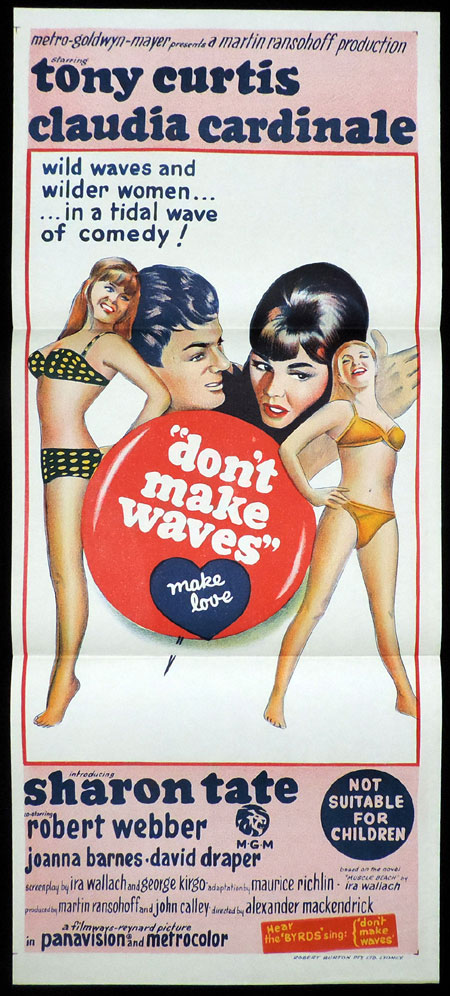 DON'T MAKE WAVES  Daybill Movie poster Sharon Tate Tony Curtis Claudia Cardinale