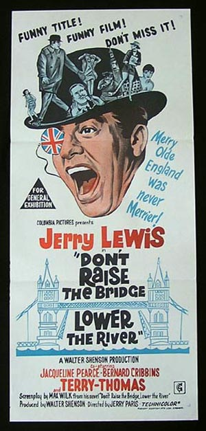 DONT RAISE THE BRIDGE LOWER THE RIVER Movie Poster 1967 Jerry Lewis Australian Daybill