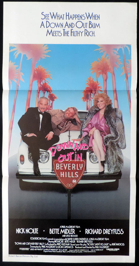 DOWN AND OUT IN BEVERLY HILLS, Original Daybill, Movie poster, Bette Midler, Nick Nolte, Richard Dreyfuss