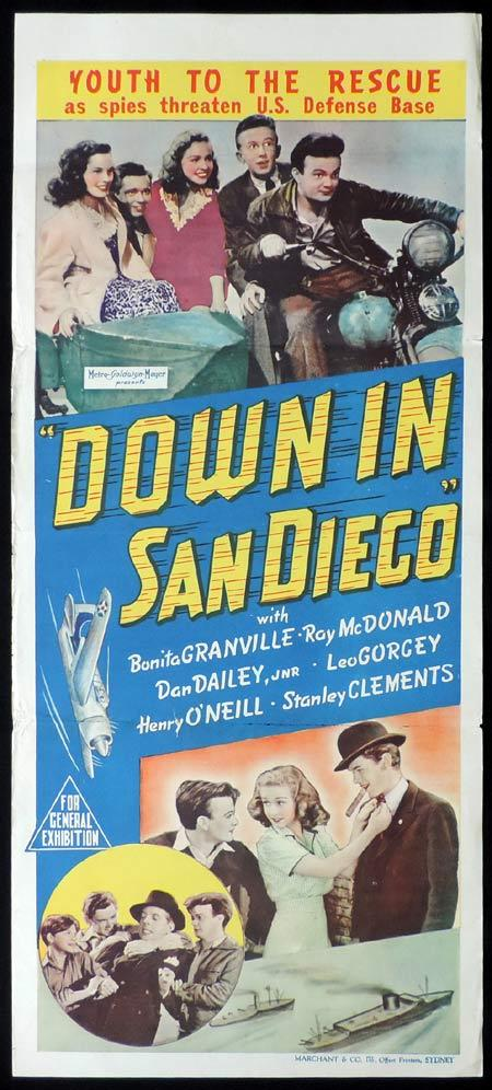 Down in San Diego, Robert B. Sinclair, Bonita Granville, Ray McDonald, Dan Dailey, Leo Gorcey