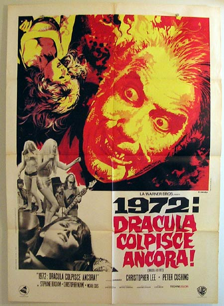 DRACULA AD 1972 Original Italian Movie Poster Christopher Lee Peter Cushing Hammer Horror