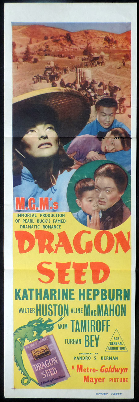 DRAGON SEED Daybill Movie Poster Katharine Hepburn