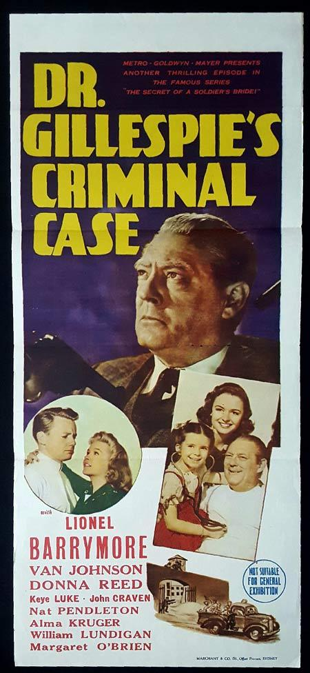 DR GILLESPIE'S CRIMINAL CASE Original Daybill Movie Poster Lionel Barrymore Marchant Graphics