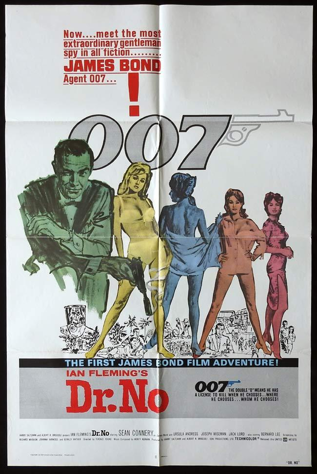 DR NO Original One sheet Movie poster JAMES BOND Sean Connery 1980r