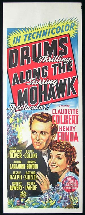 DRUMS ALONG THE MOHAWK Long Daybill Movie Poster 1939 John Ford Henry Fonda