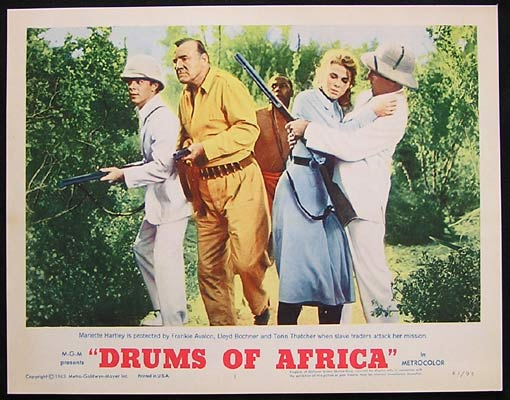 DRUMS OF AFRICA 1963 Lobby card 1 Frankie Avalon Lloyd Bochner