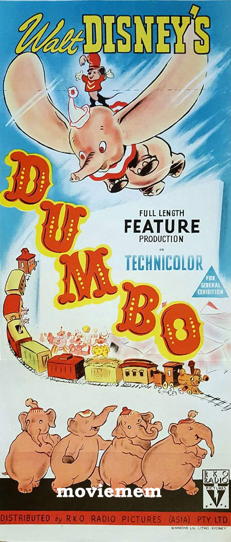 DUMBO Original Daybill Movie Poster Disney RKO