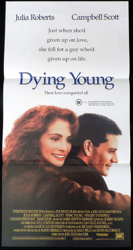 DYING YOUNG Original Daybill Movie poster Julia Roberts Campbell Scott