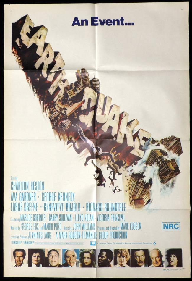 EARTHQUAKE One Sheet Movie Poster Charlton Heston
