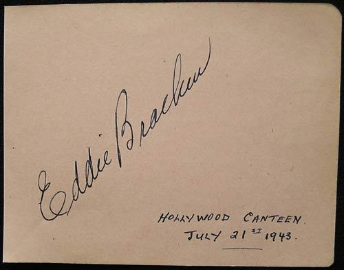 EDDIE BRACKEN Rare 1943 Authentic Movie Star Autograph