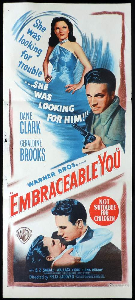 EMBRACEABLE YOU Original Daybill Movie Poster Dane Clark Film Noir