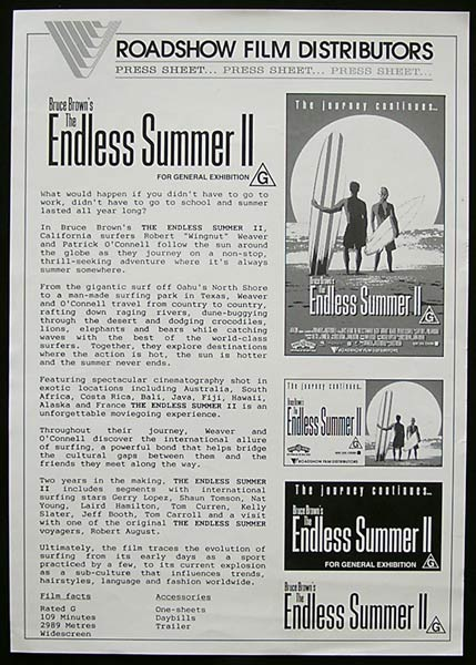 ENDLESS SUMMER 2 '94 Bruce Brown SURFING Press Sheet