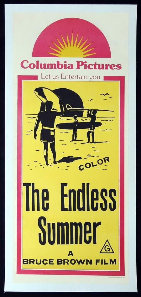 THE ENDLESS SUMMER Daybill Movie poster SURFING Bruce Brown Linen Backed 70sr
