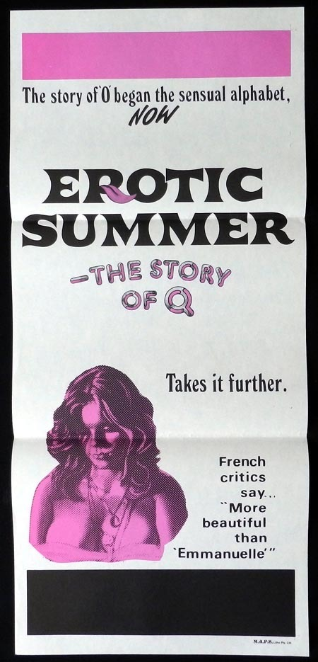 EROTIC SUMMER THE STORY OF Q Original daybill Movie Poster SEXPLOITATION Adult R Rated