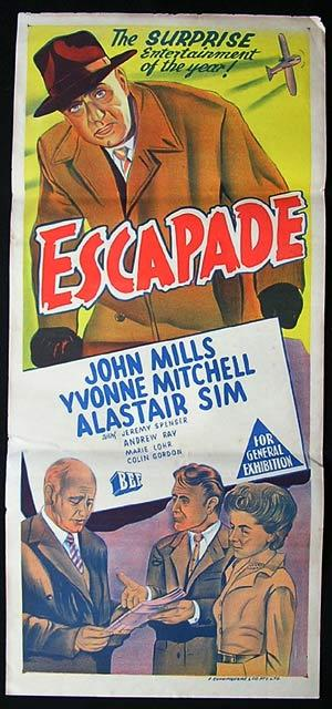 Escapade, One sheet, Movie poster, British Comedy, Philip Leacock, John Mills, Yvonne Mitchell, Alastair Sim