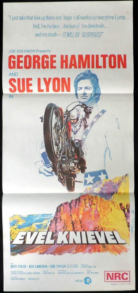 EVEL KNIEVEL daybill Movie poster GEORGE HAMILTON Motorcycle Biker