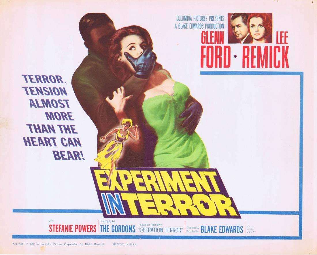 EXPERIMENT IN TERROR Title Lobby Card Glenn Ford Lee Remick Stefanie Powers