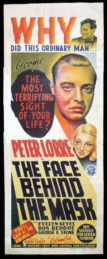 THE FACE BEHIND THE MASK Long Daybill Movie poster 1941 Peter Lorre