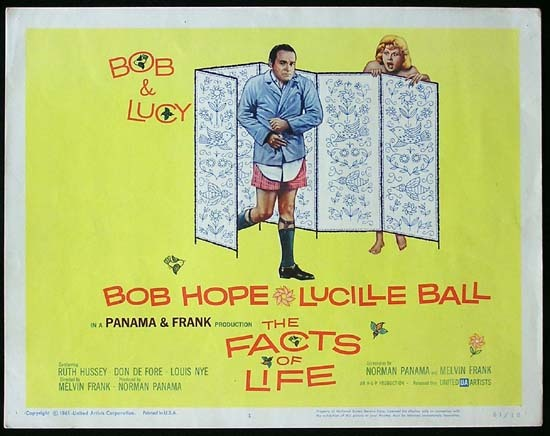 THE FACTS OF LIFE 1961 Lucille Ball Bob Hope Title Lobby card
