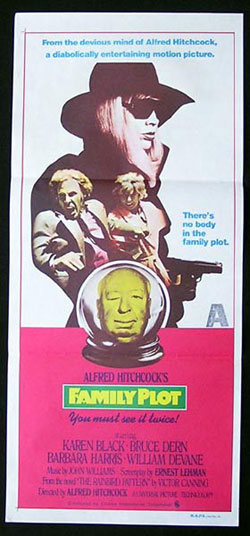 FAMILY PLOT Movie Poster Hitchcock Black Dern Barbara Harris daybill NZ