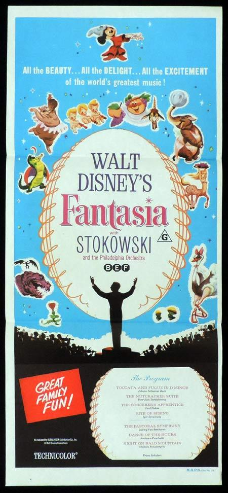 FANTASIA 1970s Original DAYBILL Movie Poster Disney Mickey Mouse