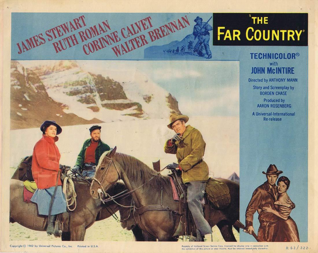 THE FAR COUNTRY Vintage Lobby Card 2 James Stewart Ruth Roman Corinne Calvet 1962r