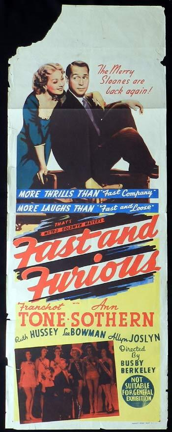 FAST AND FURIOUS 1939 Busby Berkeley LONG DAYBILL Movie poster