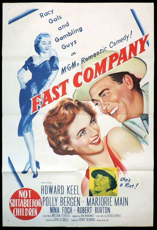 FAST COMPANY, Original One sheet, Movie Poster, HOWARD KEEL, Polly Bergen, Gambling