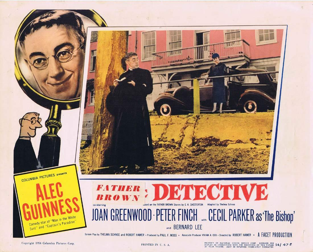 FATHER BROWN DETECTIVE Lobby Card Alec Guinness Joan Greenwood Peter Finch