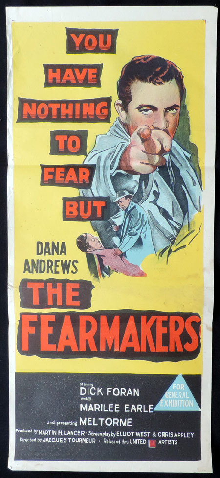 THE FEARMAKERS 1958 Film Noir VINTAGE Daybill Movie poster Dana Andrews