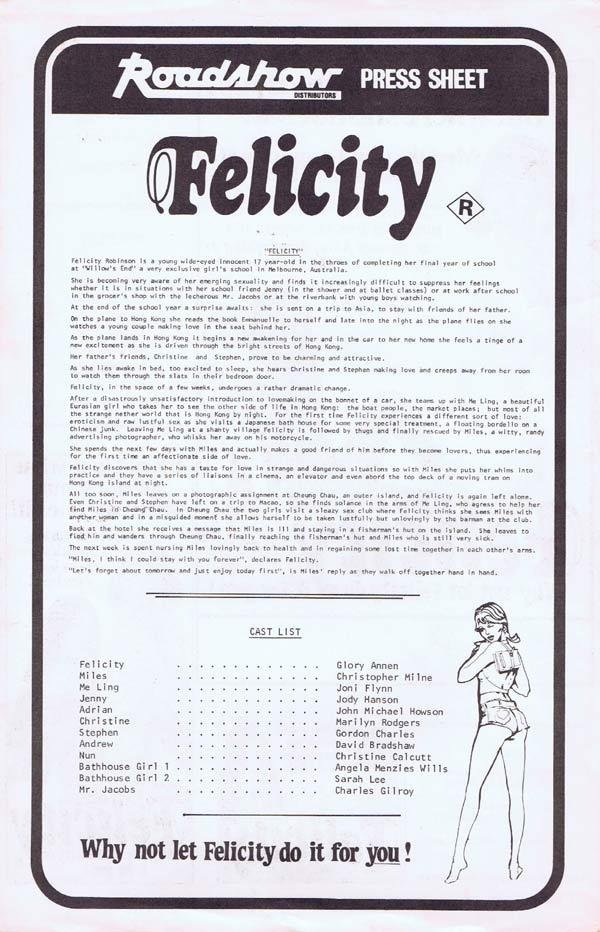 FELICITY Rare AUSTRALIAN Movie Press Sheet Glory Annen