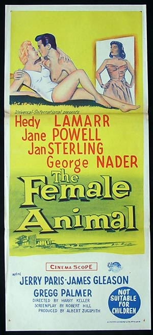THE FEMALE ANIMAL Daybill Movie poster 1958 Hedy Lamarr